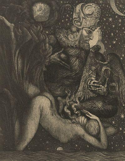 Ernst Fuchs | AHASVERUS REPUDIATES VASTHI, etching 303x242 mm 1964