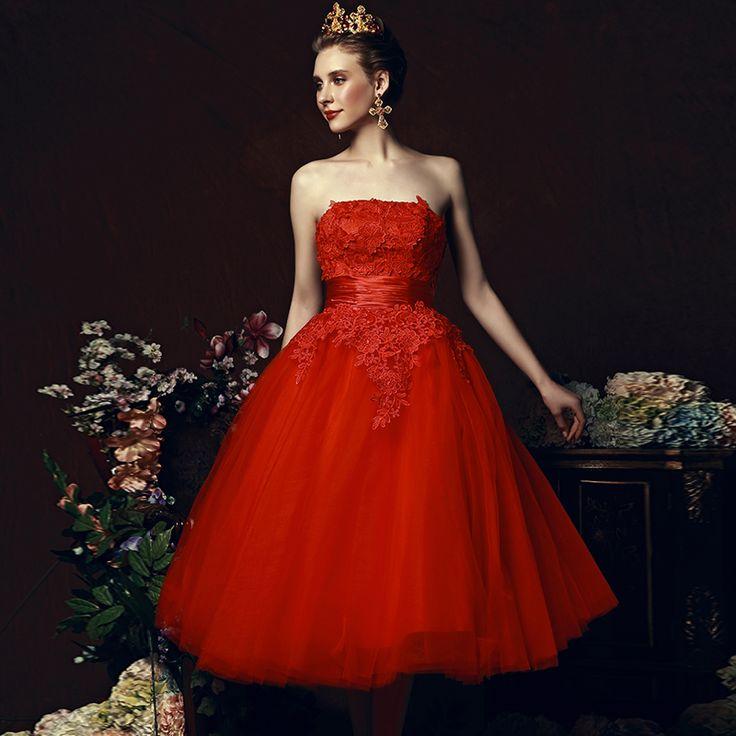 Tea Length Red Homecoming Dresses A Line cute dresses for juniors puffy 8th grade prom dresses robe de soiree courte2016