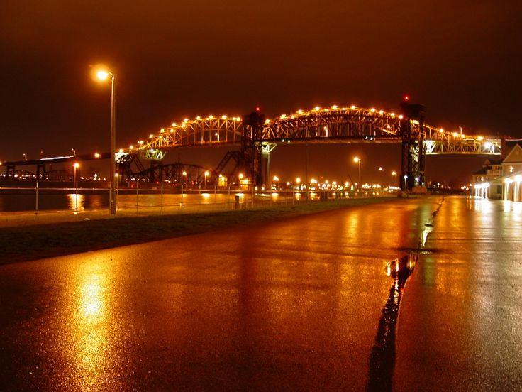 "International Bridge between the ""Twin Soo's."" Between Sault Ste. Marie, Michigan and Sault Ste. Marie, Canada."