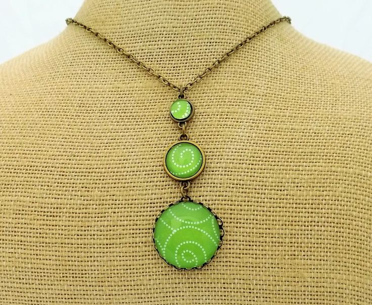 Apple Green Triple Tier Vintage Dome Necklace by Kathryn Design NZ Jewellery
