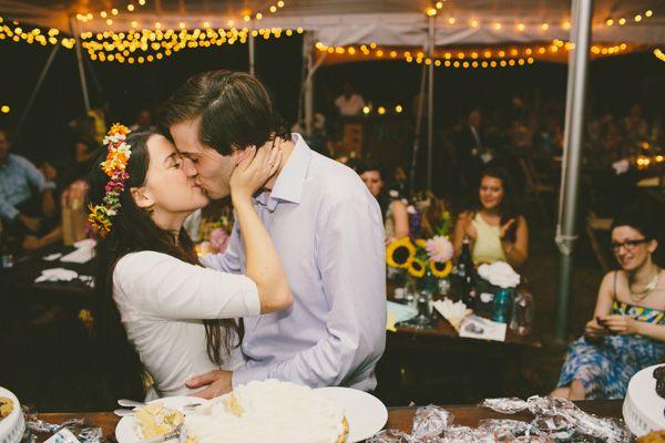 Such an adorable couple! | http://www.weddingpartyapp.com/blog/2014/10/29/boho-farm-table-wedding-katch-silva/