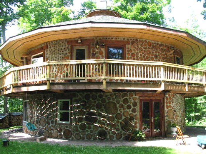 Camp Cordwood, Northern Michigan. With cordwood building, curves are as easy to build as angles. www.thenauhaus.com