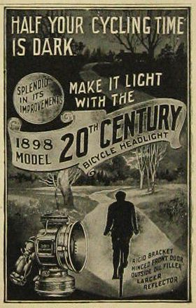 don't cycle in the dark 1898 headlight advertisement - good advice for everyone not just Annie