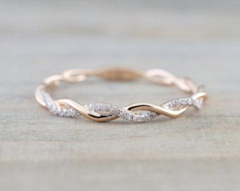14k White Gold Round Cut Diamond Rope Twined Vine Engagement