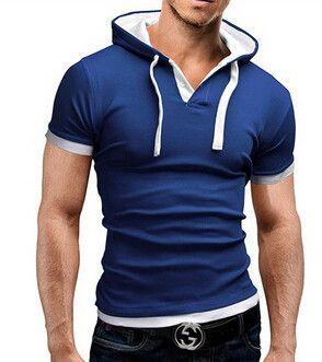Men'S T Shirt 2016 Summer Fashion Hooded Sling Short-Sleeved Tees Male Camisa Masculina Sports T-Shirt Slim Tops M ~ XXXL ADong