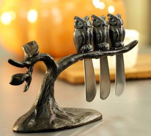 Owl Tree Spreaders Set - eclectic - flatware - Pottery Barn