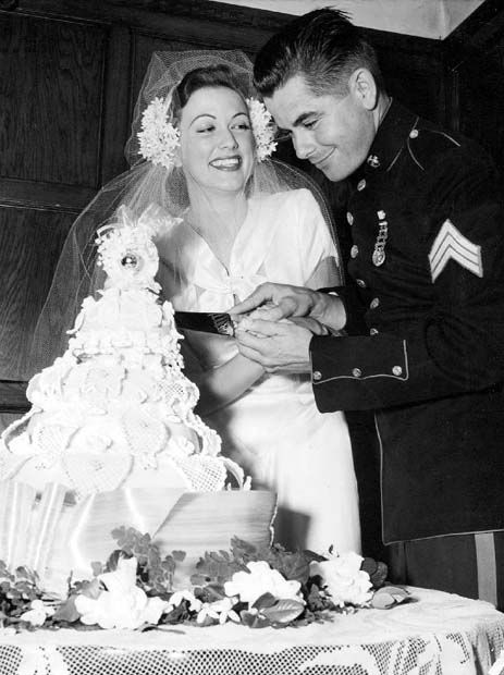 Lovely bride Eleanor Powell and Glenn Ford on their wedding day in 1943