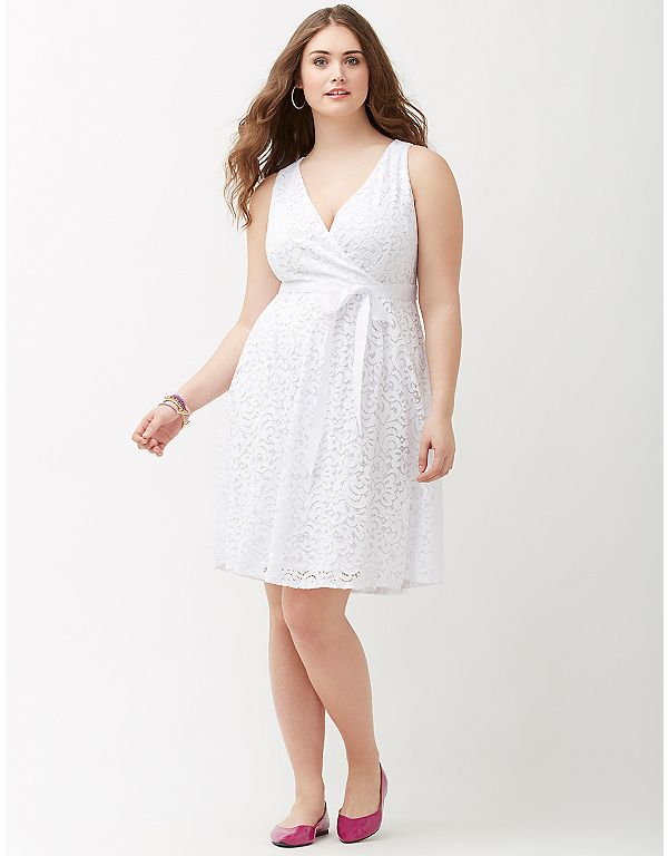Lane Bryant Lace V Neck Fit Flare Dress With Bow In White 90