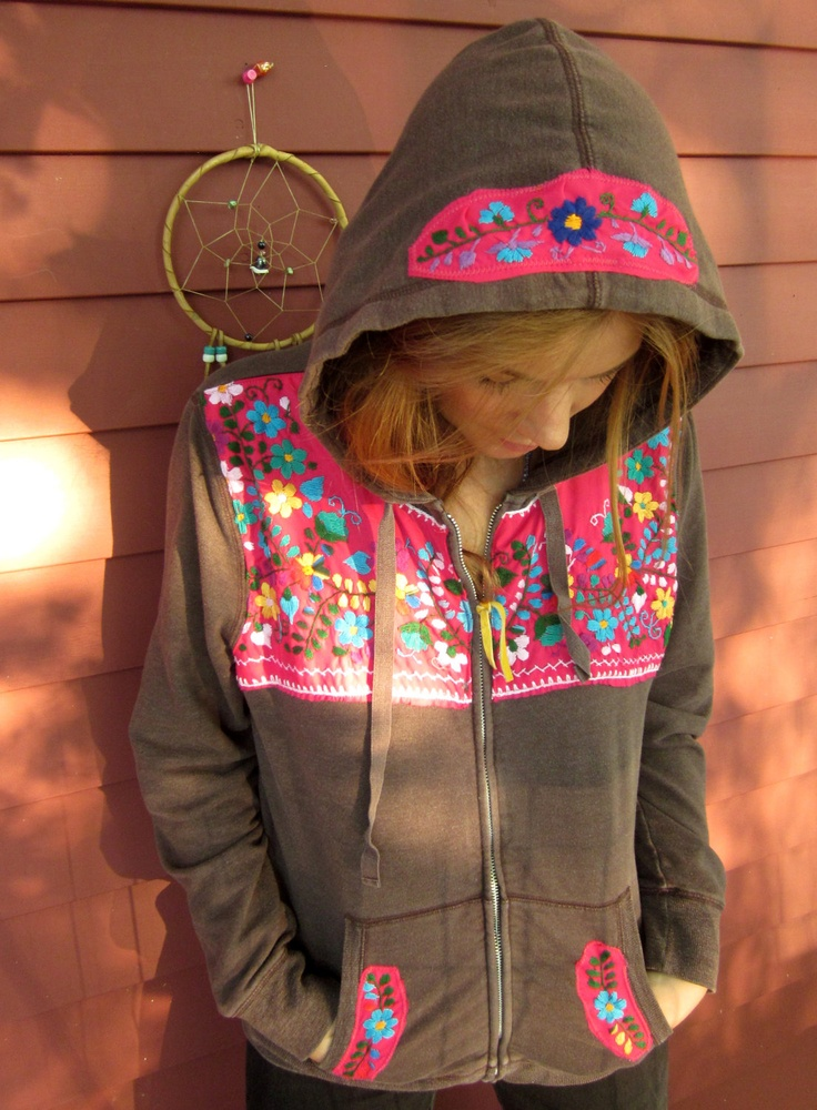 Mexican Embroidered Hippie Bohemian Upcycled Brown and Magenta Hoodie Hooded Sweatshirt Size XL by MoutainGirlClothing. $62.00, via Etsy.
