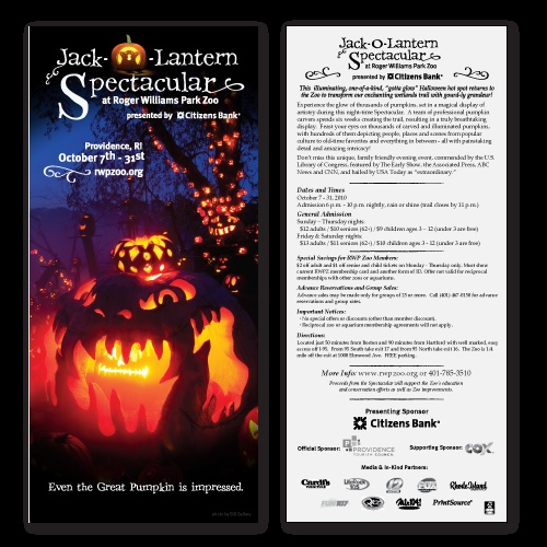 Rack card for Roger Williams Park Zoo's Jack-O-Lantern Spectacular.  Concept, copy and design by Quill and Cursor.