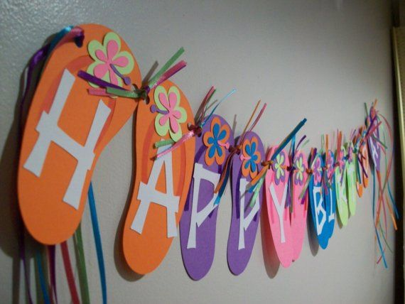 Flip Flop Birthday Banner by TwinMomMade on Etsy, $30.00