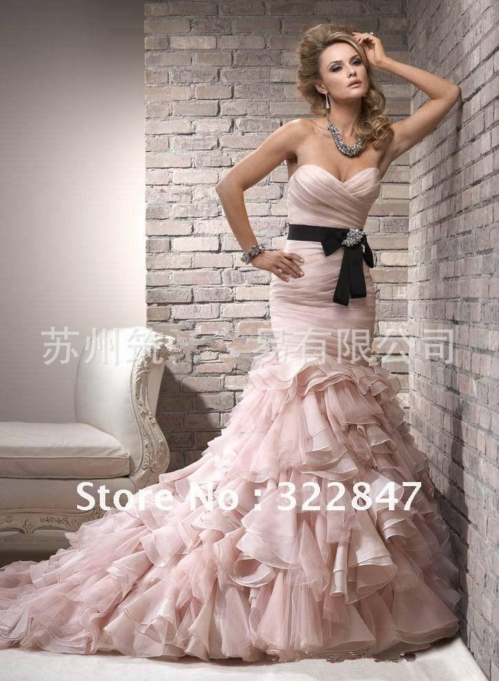 black detailed wedding dresses | Quality Pink Organza Black Ribbon Unique Sexy Mermaid Wedding Dresses ...