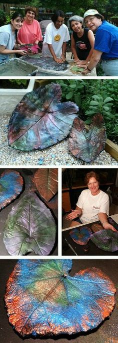 DIY Concrete leaf stepping stones - so pretty.  Love the metallic look. Rarely do I pin things to two boards. This one was worth it, though. It made Craft and Create and Outdoor Living Space. :)