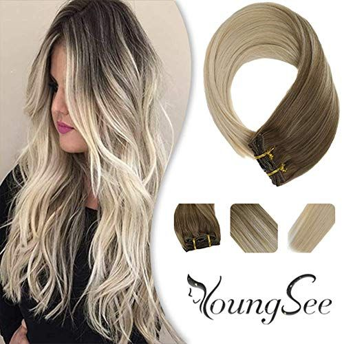 Best Seller Youngsee 24 Remy Balayage Clip Hair Extensions Human Hair Dark Ash Blonde Platinum Blonde Full Head Double Weft Remy Clip Extensions 7Pcs 120g/Set online