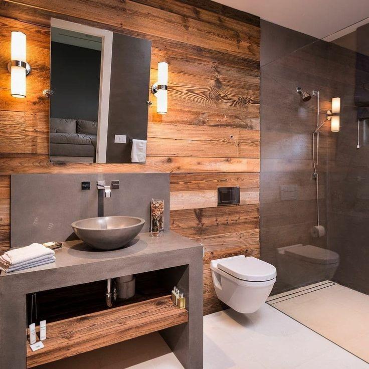 Banheiro rstico moderno com bancada de cimento queimado e