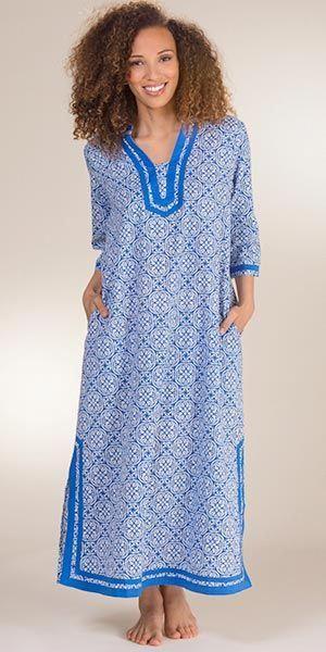 d38f2c0138117 Woven Cotton Caftan - 2 3 Sleeve La Cera Lounger - Mandolin Blue   WomenSYogaClothing