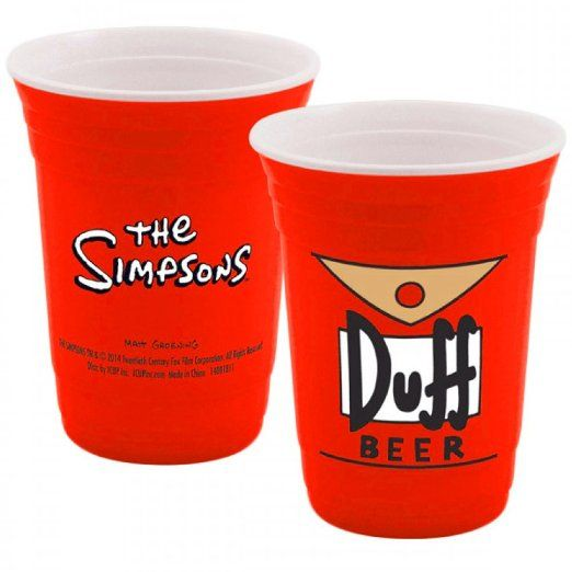 Duff Beer The Simpsons Party Cup Homer Drinking Moe's Tavern Glassware FOX