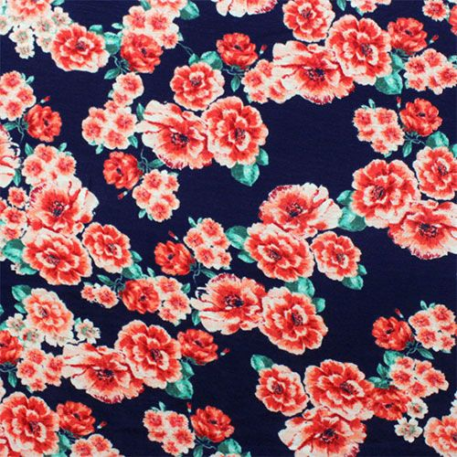 Pink Floral On Navy Blue Cotton Spandex Blend Knit Fabric