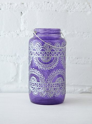 Free People 32 Oz Mason Jar Lantern - to colour: 1 tsp elmers glue, 3 drops food coloring, and 1.5 tsp of water. painted onto clear glass jars will turn them whatever color you'd like (: Decorate intricately with glass paints