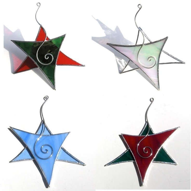 Christmas Stained Glass Ornaments Part - 40: You Pick 3 - Stained Glass Ornaments - 3D Stained Glass Christmas Tree  Ornaments Suncatcher Home