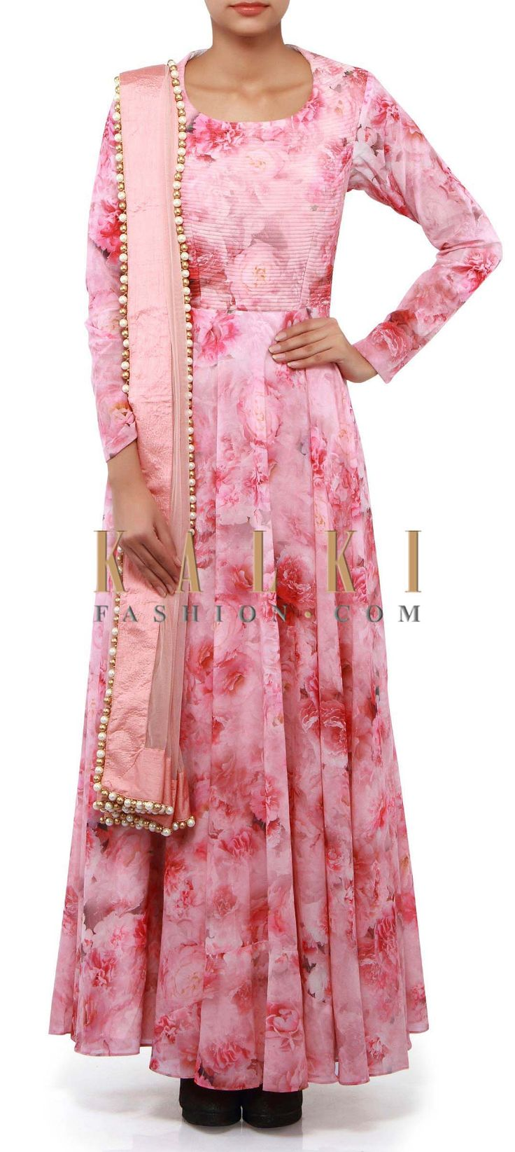 Buy Online from the link below. We ship worldwide (Free Shipping over US$100). Product SKU - 302273. Product Link - http://www.kalkifashion.com/pink-anarkali-suit-adorn-in-rose-motif-print-only-on-kalki.html