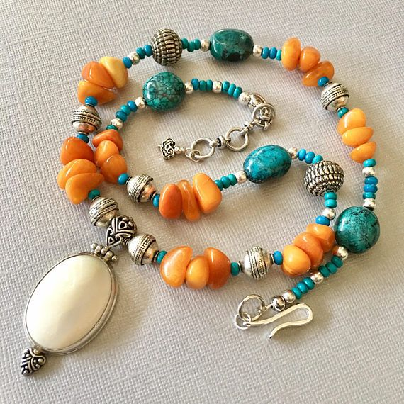 Antique Baltic Amber and Tibetan turquoise necklace with
