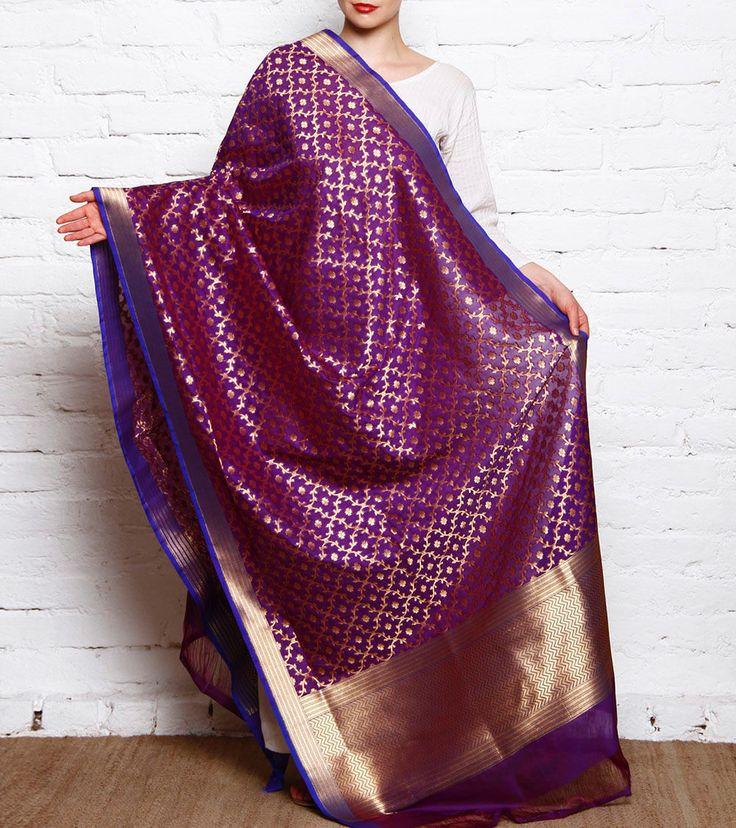 Purple Banarasi Silk Dupatta With Zari Work