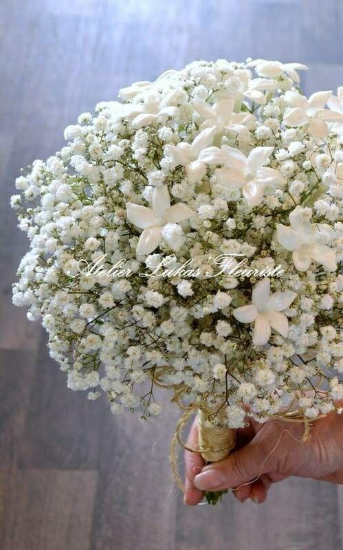 "Pretty ""All White"" Wedding Bouquet: Gypsophila (Baby's Breath) & Stephanotis (Madagascar Jasmine)"