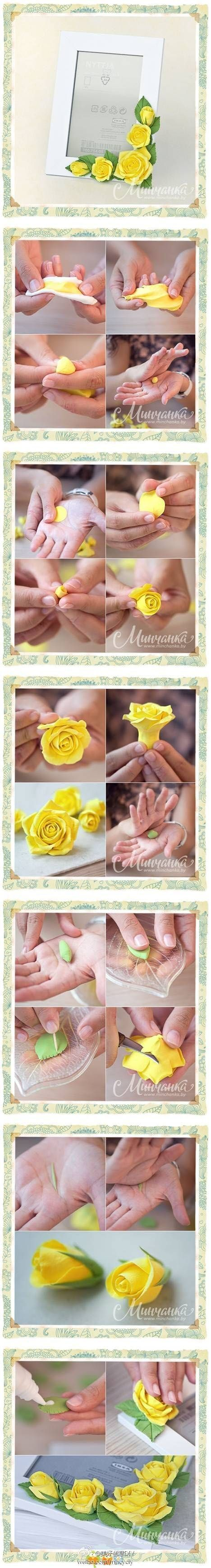 Sculpting roses for a picture frame - wow! I love the results! Not sure if they're using polymer clay and something like TLS, or an air-dry clay and glue. I suppose you could do it either way.