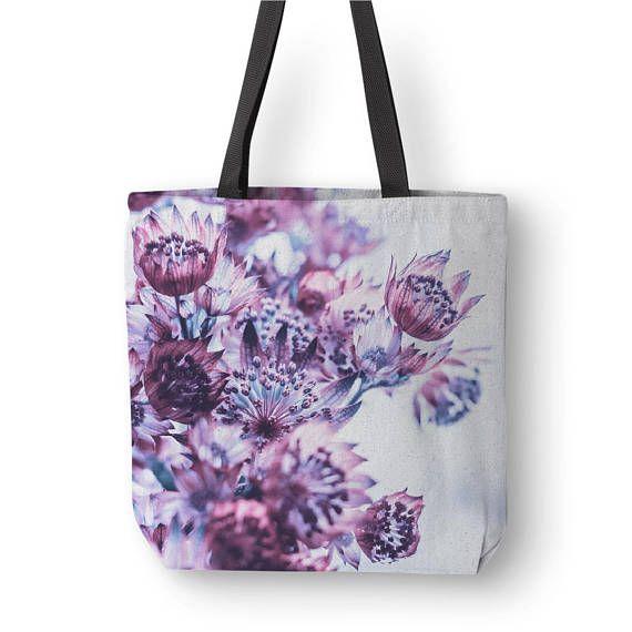 Floral Tote Bag Purple Flower Bag Purple Totes Canvas Bag
