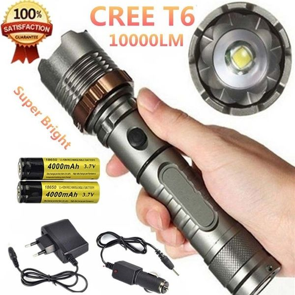 Cree Xml T6 10000 Lumens Rechargeable Flashlight Featuring 5 Brightness Modes A Must For Your Next Rechargeable Flashlight Flashlight Tactical Led Flashlight