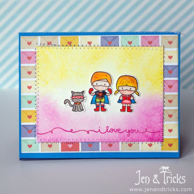 Handmade superhero valentines card by jenandtricks, using Mama Elephant Stamps