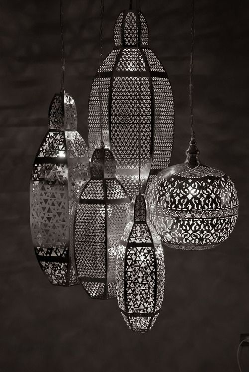 Beautifully Intricate Lighting by Zenza    Made in a factory in Egypt from silver-plated copper, the lamps have been punctured with thousands of tiny holes that create stunning effects when the light filters through them and casts shadows on the surrounding surfaces. Zenza's handmade lights are unique in every way and will add a distinctive sense of character and personality to every home that features them.