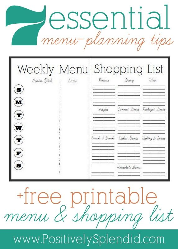 Menu-Planning, Part 2: 7 Essential Menu-Planning Tips + Free Menu and Shopping List Printable #organization