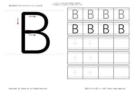 B の書き順付き練習帳画像