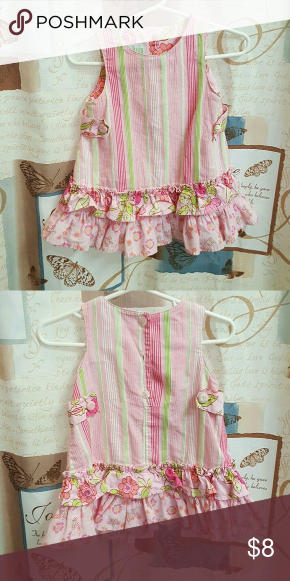 Baby LuLu Los Angeles Sleeveless pink, green, and white dress with ruffles on the bottom. Baby Lulu Dresses Casual