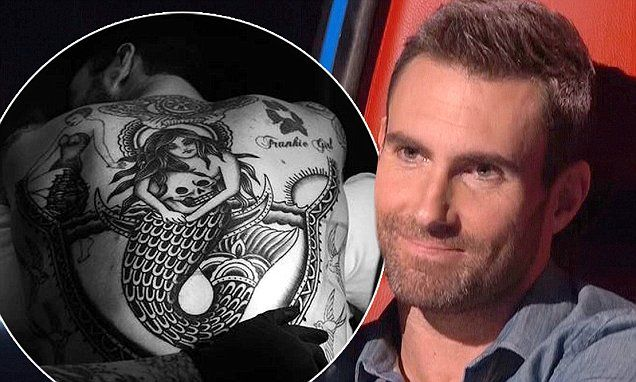 Adam Levine unveils new back tattoo of mermaid clutching a skull