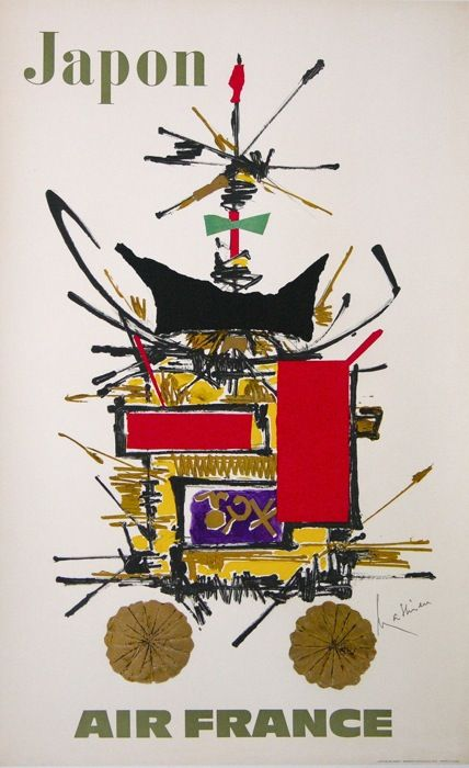 air france japon : 1968 affiches anciennes de MATHIEU Georges