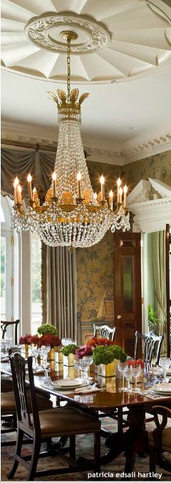 Lovely Chandelier And Ceiling For The Dining Room