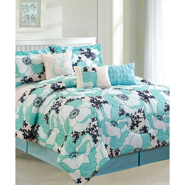 Luxury Home Aqua & Black Romenya Comforter Set ($55) ❤ liked on Polyvore featuring home, bed & bath, bedding, comforters, aqua blue comforter, black comforter set, black pillow shams, aqua comforter set and aqua bedding