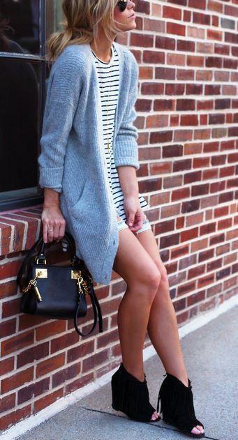 #street #style / gray oversized knit