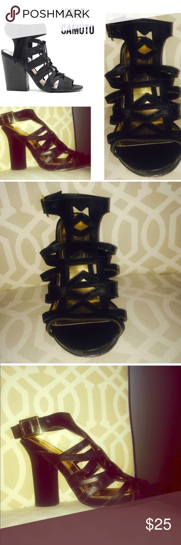 Vince Camuto EUC Black Strappy Wedges These are a keeper ! I just have too many shoes 👠 ' and my loss is your gain! Very comfortable, Black, Leather, about 2 1/2 inch heel. Stock photo is a similar shoe, all the rest are mine! Vince Camuto Shoes