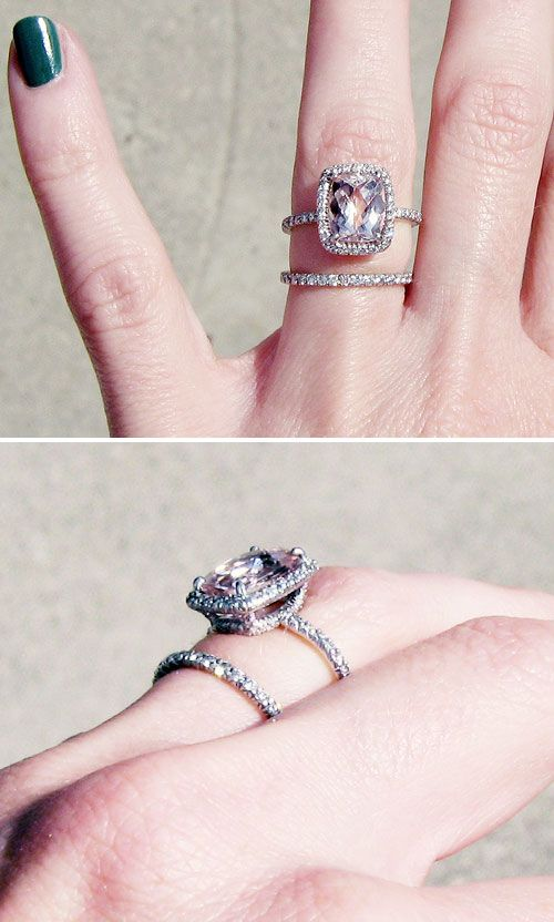 "SO GORGEOUS! Engagement ring & wedding band (stacking) created by Cynthia Wolff. 3 karat rectangle cushion cut light pink/peach Morganite (aka pink beryl, rose beryl, pink emerald & cesian beryl)...she chose Morganite bc she could get more ""bang for her buck"" vs. a diamond. The cushion cut really exaggerates the hue & adds extra facets for sparkle. Set entirely in platinum & completely surrounded by micro pave (tiny round cut diamonds) all the way around the band & along each side. Cost…"
