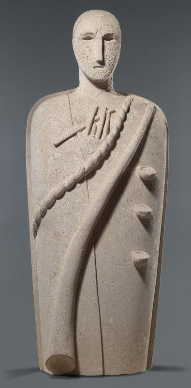 Mimmo Paladino – Testimone, 1988, Scultura in pietra di Vicenza, cm. 150 h.