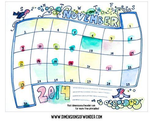 Free Printable Monthly Calendar November 2014 {Hand Drawn} - Dimensions of Wonder