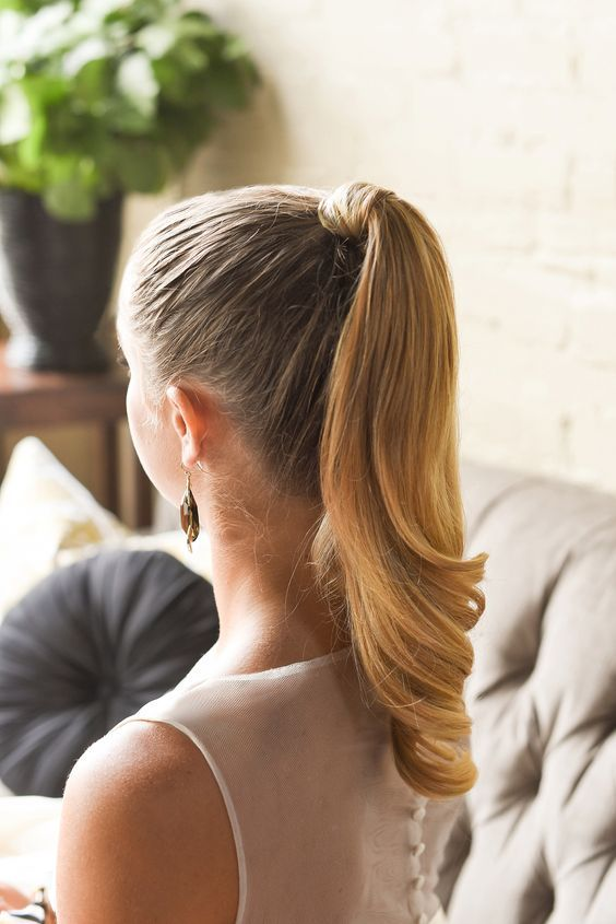 high ponytail polished look