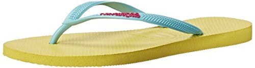 Havaianas Womens Slim Logo Pop Up Flip Flop Revival Yellow 37 BR78 M US *** Click image to review more details.