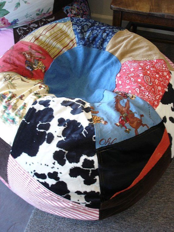 Cowboy Patched Bean Bag Chair  Western Room Decor- CUTE DIY IDEA!!!