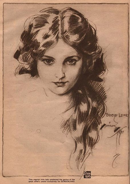 Pastel Portrait of Bessie Love by Harrison Fisher in 1922