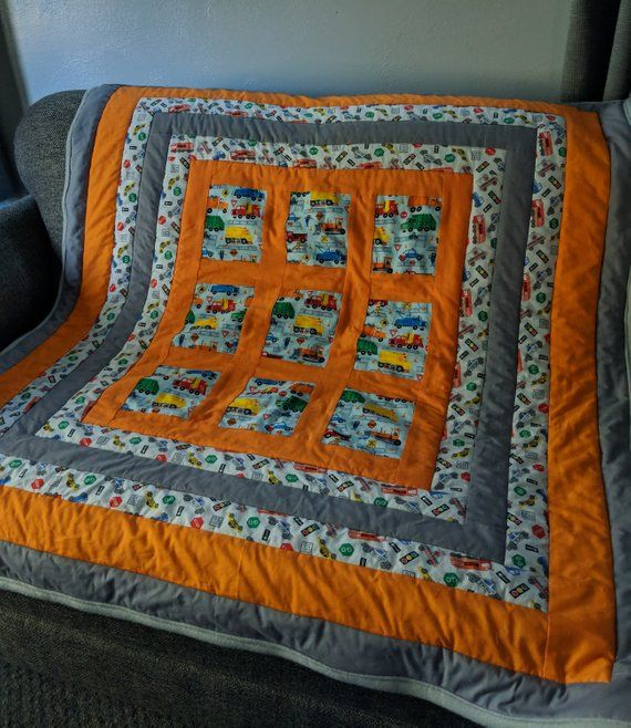 Quilt Blanket Boys Blanket Construction Blanket Bedding Lap Blanket Handmade Emergency Vehicle Decor Orange And Gray Blanket Boy Blankets Lap Blanket